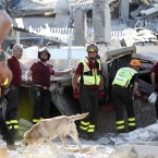 Rescue teams use dogs as they look for three workers who are reportedly missing at the Haemotronic factory in Medolla, (AP Photo/Luca Bruno)