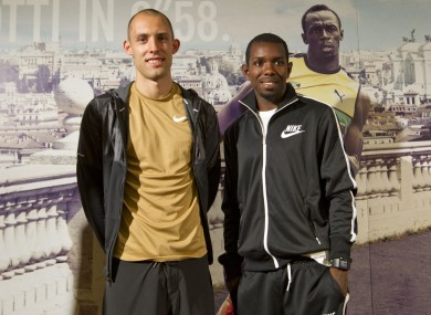 Dai Greene and Bershawn Jackson pose ahead of the Diamond League meeting in Rome.