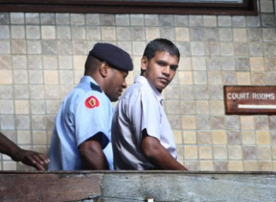 Murder accused Avinash Treebhoowoon at court today.
