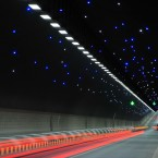A general view of Dapingshan tunnel in Quanzhou, Fujian, China where 1,000m long small bulbs were installed in the 1,524m long tunnel, to bring joy to drivers and passengers. (Xie Mingfei/ChinaFotoPress/PA Wire)