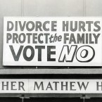 1986: Anti-divorce posters at the Father Mathew Hall on polling day for the Divorce Referendum on 26 June. 
