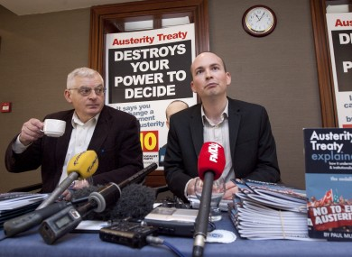 Paul Murphy with Socialist Party colleague Joe Higgins at a press conference today