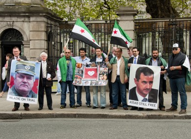 Anti-Syrian regime protesters outside the Dil today.
