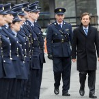 Minister for Justice Alan Shatter inspects a Garda guard of honour as he arrives at Dublin Castle today. (Image: Laura Hutton/Photocall Ireland)