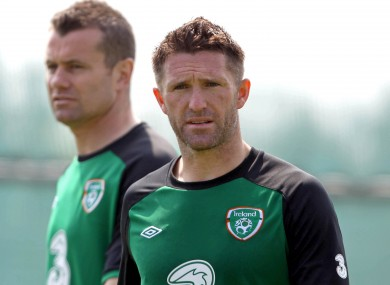 Keane training today with Shay Given in the background.