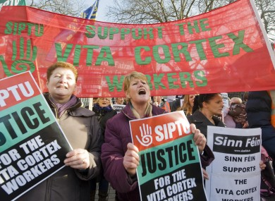 A protest in support of the Vita Cortex workers