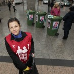Tanya Maksimora, SIPTU organiser with the Fair Deal for Cleaners Campaign on O Connell Street in Dublin campaigning for better working conditions for cleaners. 