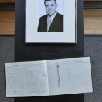 A book of condolence for Lenihan at Government Buildings