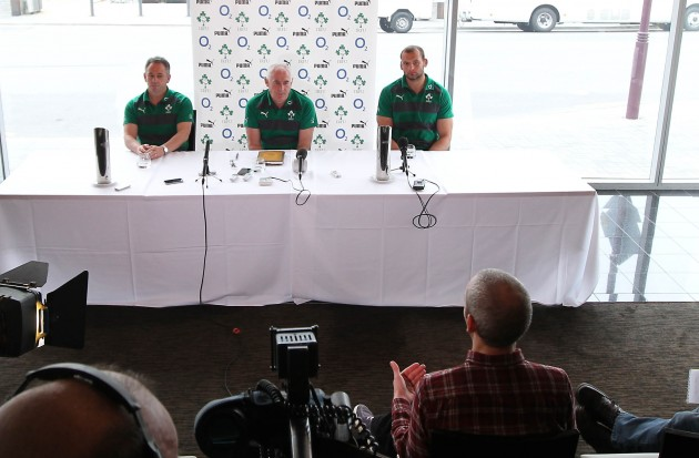 Ireland assistant coach Mark Tainton Ireland Manager Mick Kearney and Ireland player Dan Tuohy during the press conference 18/6/2012