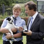 Pictured with Minister Shatter is Gda Fiona Tighe, who uncovered a puppy farm whose owner was selling the puppies from the boot of his car. 