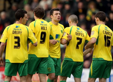 Norwich City's defensive wall (File photo) 