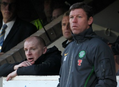 eltic manager Neil Lennon with then assistant Alan Thompson.