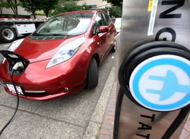 A Nissan Leaf charging in Portland, Oregon.