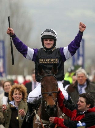 Gillies celebrates winning the Albert Barlett Novices' Hurdle at Cheltenham.