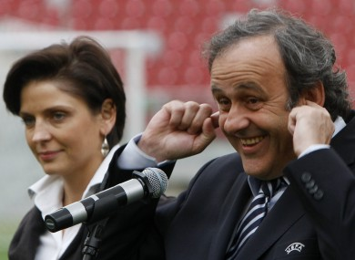 Polish Sport Minister Joanna Mucha and UEFA President Michel Platini during a press conference at the National Stadium in Warsaw.