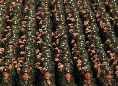 North Korean soldiers on parade in central Pyongyang, April 2012.