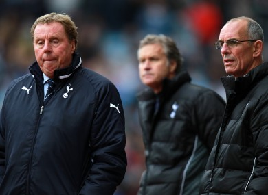 Former Tottenham Hotspur manager Harry Redknapp (left), assistant manager Kevin Bond (centre) and first team coach Joe Jordan.