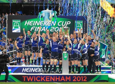 Leinster lift the trophy in Twickenham. 