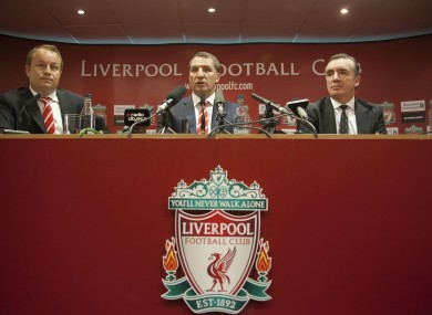 Brendan Rodgers, centre, at his so-called unveiling.
