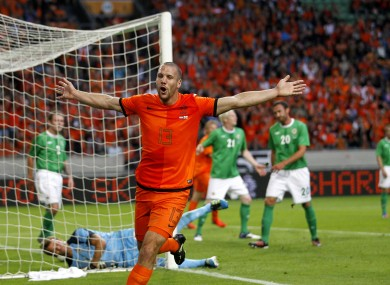Ron Vlaar celebrates his goal against Northern Ireland.