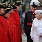 Queen Elizabeth II is greeted by Chelsea pensioners at Chelsea Pier (Photo by Bethany Clarke - WPA Pool /Getty Images)