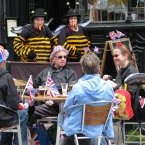 Street entertainers at the Jubilee 'Big Lunch' in Cardiff, during the Diamond Jubilee celebrations.