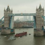 The Spirit of Chartwell passes under Tower Bridge on the River Thames, London, during the Diamond Jubilee river pageant.