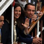 Pippa Middleton and her brother Michael during the Diamond Jubilee River Pageant along the River Thames, London.