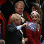 Mayor of London, Boris Johnson and Sophie the Countess of Wessex share a joke during the Diamond Jubilee River Pageant along the River Thames, London.