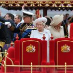 Members of the Royal family (from left to right) Prince of Wales, Duke of Edinburgh, Queen Elizabeth II, Duchess of Cornwall and Duchess of Cambridge onboard the Spirit of Chartwell during the Diamond Jubilee Pageant on the River Thames in London.