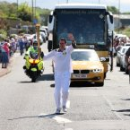 Torch bearer number 12 Adam Hayes also in Coleraine where hundreds came out to cheer the runners. 