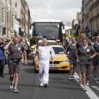 Michael Carruth with the flame on Parnell Square.