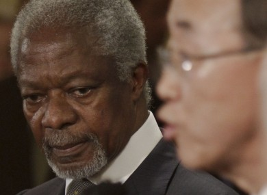 Kofi Annan and Ban Ki-Moon address reporters after yesterday's behind-closed-doors meeting of the UN Security Council.