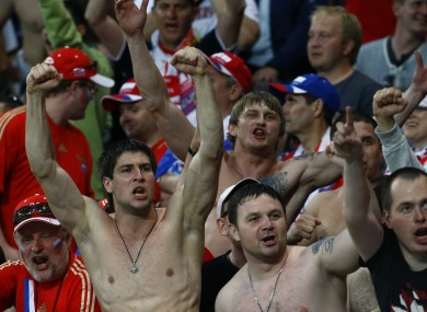 Russian fans celebrate their win yesterday.