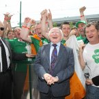 President Michael D Higgins meets football fans from Andersonstown in West Belfast, as he arrived to meet the Irish Team at the Sheraton Hotel in Poznan, Poland.