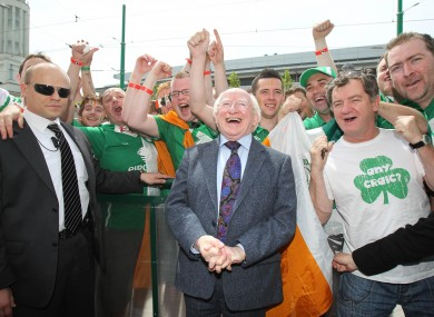 Michael D in Poznan last week, having the craic