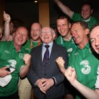 Three cheers for the President from Irish fans in Poznan