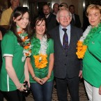 President Michael D Higgins meets Irish football fans as he arrived to meet the Irish Team at the Sheraton Hotel in Poznan, Poland.