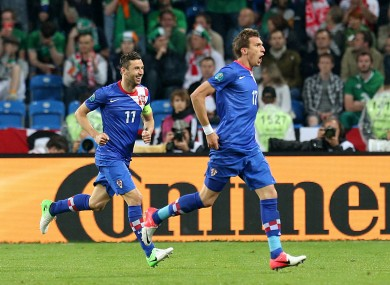 Mandzukic celebrates his second of the night. 