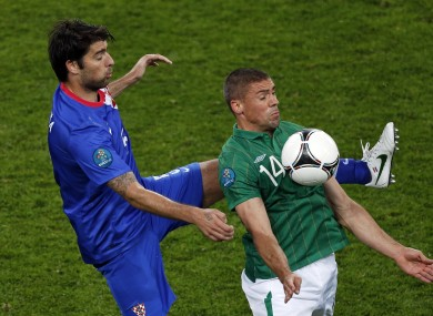 Jon Walters holds the ball up against Verdran Corluka on Sunday.