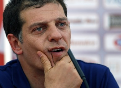 Croatia head coach Slaven Bilic attends a news conference yesterday.