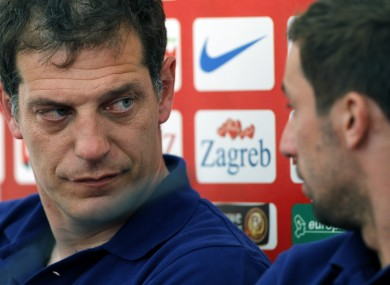 Croatia head coach Slaven Bilic, left and Darijo Srna.