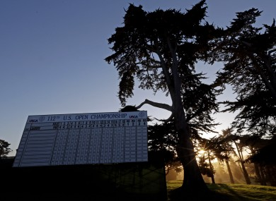 The leaderboard on the 18th at the Olympic Club.