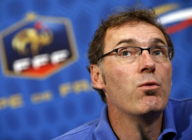 France's head coach Laurent Blanc meets journalists.