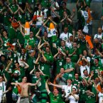 Republic of Ireland's fans celebrate after they score.
