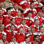 Denmark fans celebrate the opening goal