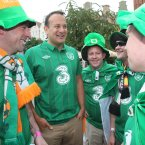Republic of Ireland football fans chat with Tourism Minister Leo Varadkar (second left) in Gdansk Poland before their Euro2012 game against Spain.  Picture date:Thursday June 14, 2012. see PA Story SPORT Euro 2012 Ireland By Ed Carty.  (Niall carson/PAWire)