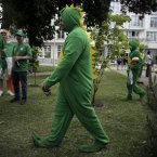 Ireland supporters dressed in costumes walk through a park prior to the Euro 2012 soccer championship Group C match between Spain and Ireland in Sopot, Poland, Thursday, June 14, 2012. (AP Photo/Gero Breloer)