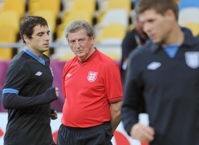 Roy Hodgson watches England training last night.
