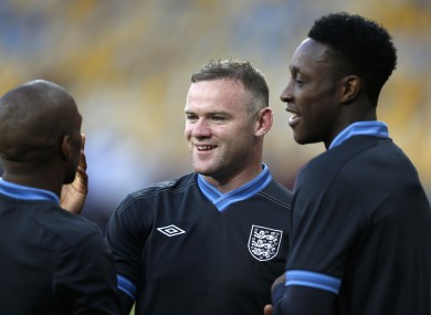 England and Manchester United team-mates Ashley Young, Wayne Rooney and Danny Welbeck.